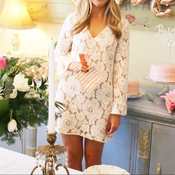 Wayf White Nude Lace Long Sleeve Shift Dress